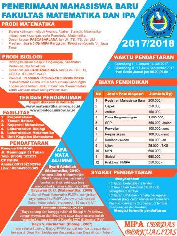 Penerimaan Mahasiswa Baru Biologi FMIPA Unirow